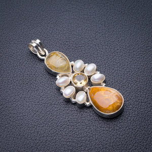 "StarGems Natural Chrysanthemum Jasper,Citrine,Golden Rutile And River Pearl Handmade 925 Sterling Silver Pendant 2"" D6179"