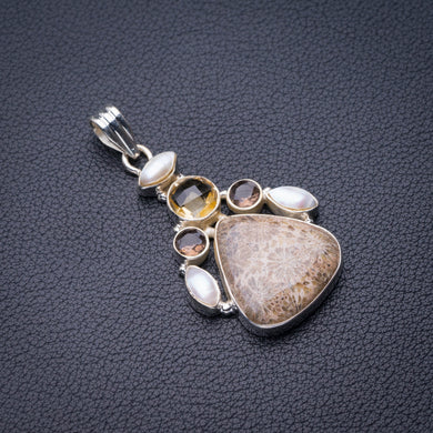 StarGems Natural Chrysanthemum Jasper,Smoky Quartz.Citrine And River Pearl Handmade 925 Sterling Silver Pendant 2
