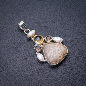 "StarGems Natural Chrysanthemum Jasper,Smoky Quartz.Citrine And River Pearl Handmade 925 Sterling Silver Pendant 2"" D6180"