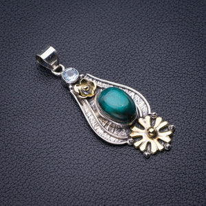 "StarGems Natural Two Tones Malachite And Blue Topaz Flower Handmade 925 Sterling Silver Pendant 2"" D6207"