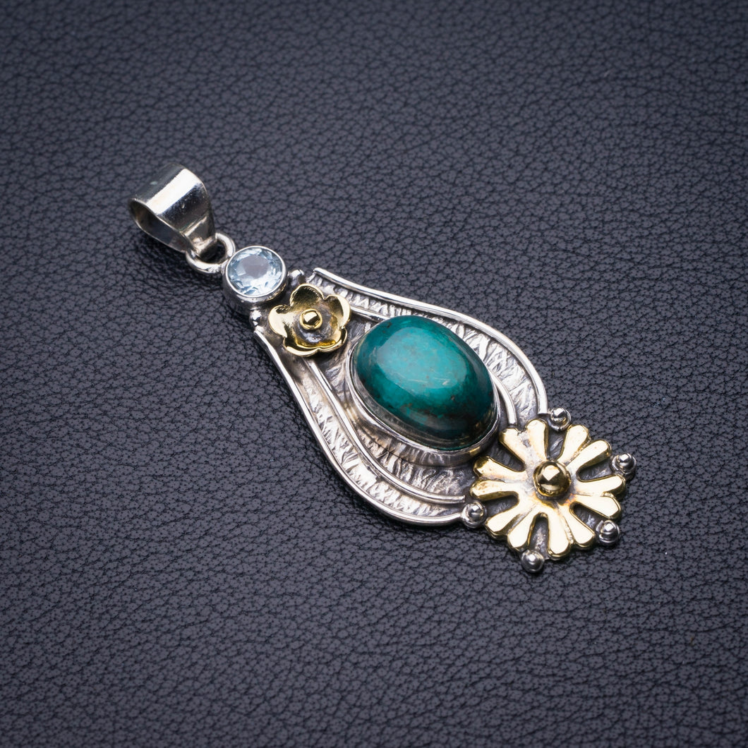 StarGems Natural Two Tones Malachite And Blue Topaz Flower Handmade 925 Sterling Silver Pendant 2