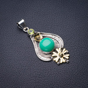 "StarGems Natural Two Tones Green Opal And Peridot Flower Handmade 925 Sterling Silver Pendant 2"" D6215"