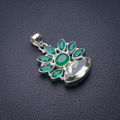 StarGems Natural Green Amethyst And Chrysoprase Handmade 925 Sterling Silver Pendant 1.5