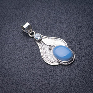 "StarGems Natural Owyhee Opal And Blue Topaz Feather Handmade 925 Sterling Silver Pendant 1.75"" D6231"
