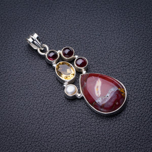 "StarGems Natural Blood Stone,Citrine,Amethyst And River Pearl Handmade 925 Sterling Silver Pendant 2"" D6246"