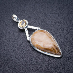 "StarGems Natural Coffee Jasper And Citrine Handmade 925 Sterling Silver Pendant 2.25"" D6252"