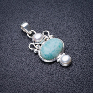 StarGems Natural Amazonite And River Pearl Handmade 925 Sterling Silver Pendant 1.75