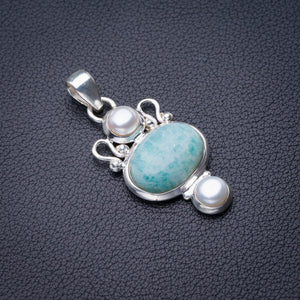 "StarGems Natural Amazonite And River Pearl Handmade 925 Sterling Silver Pendant 1.75"" D6256"