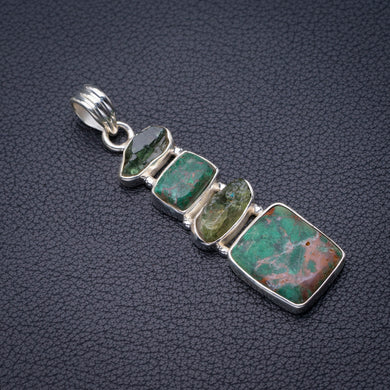 StarGems Natural Chrysocolla And Green Amethyst Rough Handmade 925 Sterling Silver Pendant 2