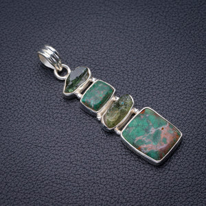 "StarGems Natural Chrysocolla And Green Amethyst Rough Handmade 925 Sterling Silver Pendant 2"" D6283"