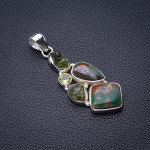 "StarGems Natural Chrysocolla,Peridot And Green Amethyst Rough Handmade 925 Sterling Silver Pendant 2"" D6284"