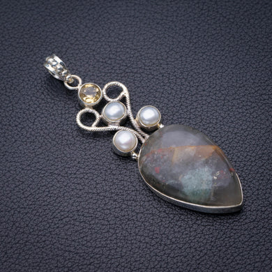 StarGems Natural Plume Agate,Citrine And River Pearl Handmade 925 Sterling Silver Pendant 2.25