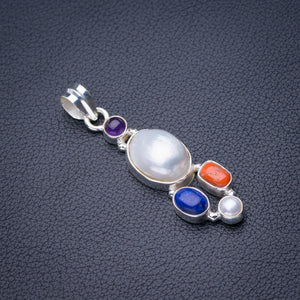 "StarGems Natural Biwa Pearl,Red Coral,Lapis Lazuli And Amethyst Handmade 925 Sterling Silver Pendant 2"" D6300"