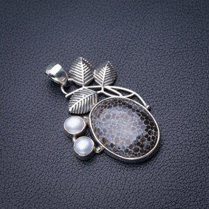 "StarGems Natural Stingray Coral And River Pearl Leaf Handmade 925 Sterling Silver Pendant 1.75"" D6311"