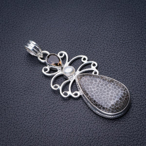 "StarGems Natural Stingray Coral,Smoky Quartz And River Pearl Handmade 925 Sterling Silver Pendant 2.25"" D6313"