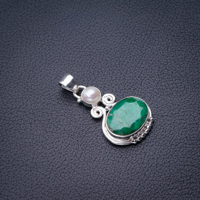 StarGems Natural Emerald And River Pearl Handmade 925 Sterling Silver Pendant 1.5