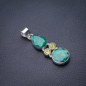 "StarGems Natural Emerald And Peridot Handmade 925 Sterling Silver Pendant 1.75"" D6332"