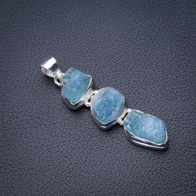 StarGems Natural Rough Aquamarine Handmade 925 Sterling Silver Pendant 2.25