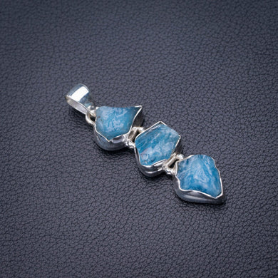 StarGems Natural Rough Aquamarine Handmade 925 Sterling Silver Pendant 2