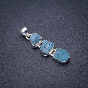 "StarGems Natural Rough Aquamarine Handmade 925 Sterling Silver Pendant 1.75"" D6337"