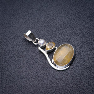 "StarGems Natural Golden Rutile,Citrine And River Pearl Handmade 925 Sterling Silver Pendant 1.75"" D6351"