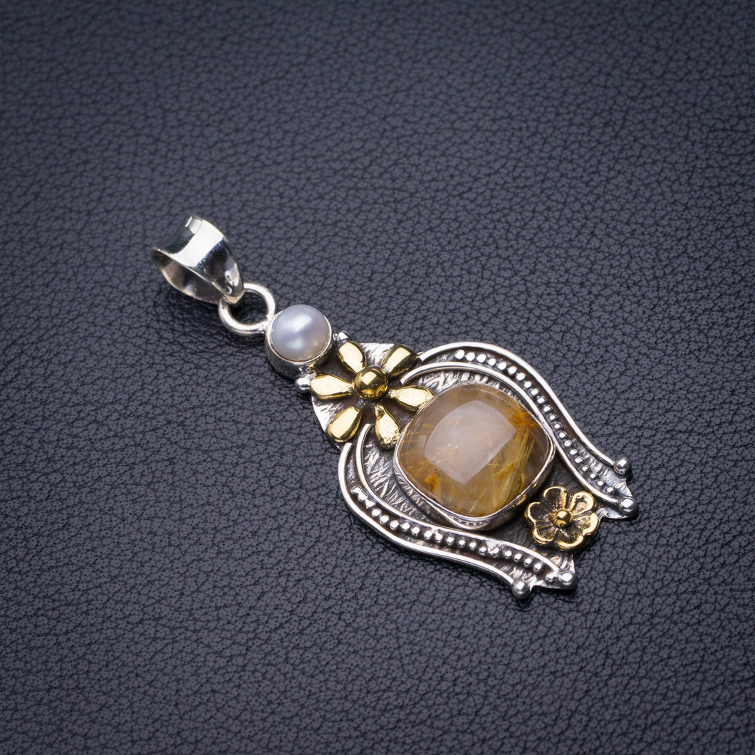 StarGems Natural Two Tones Golden Rutile And River Pearl Flower Handmade 925 Sterling Silver Pendant 2