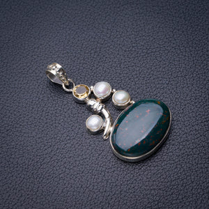 "StarGems Natural Blood Stone,River Pearl And Citrine Handmade 925 Sterling Silver Pendant 1.75"" D6380"