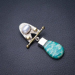 "StarGems Natural Two Tones Amazonite And River Pearl Handmade 925 Sterling Silver Pendant 2"" D6394"