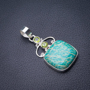"StarGems Natural Amazonite And Peridot Handmade 925 Sterling Silver Pendant 2"" D6395"