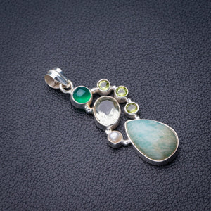 "StarGems Natural Amazonite,Chrysoprase,Green Amethyst And Peridot Handmade 925 Sterling Silver Pendant 2"" D6396"