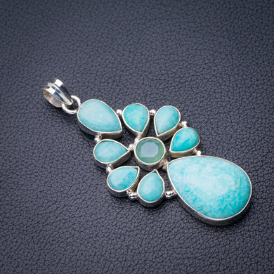 StarGems Natural Amazonite And Chalcedony Handmade 925 Sterling Silver Pendant 2.5