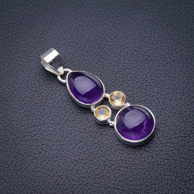 StarGems Natural Amethyst And Citrine Handmade 925 Sterling Silver Pendant 1.75