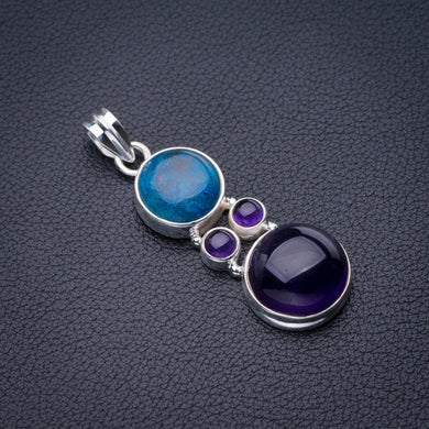 StarGems Natural Amethyst And Chrysocolla Handmade 925 Sterling Silver Pendant 2