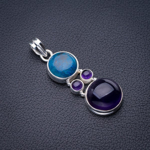 "StarGems Natural Amethyst And Chrysocolla Handmade 925 Sterling Silver Pendant 2"" D6420"
