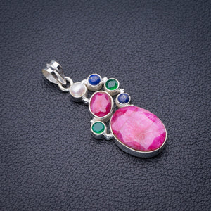 "StarGems Natural Cherry Ruby,Lapis Lazuli,River Pearl And Chrysoprase Handmade 925 Sterling Silver Pendant 1.75"" D6437"