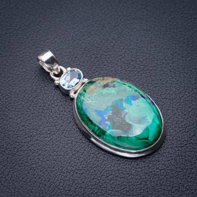 StarGems Natural Chrysocolla And Blue Topaz Handmade 925 Sterling Silver Pendant 2