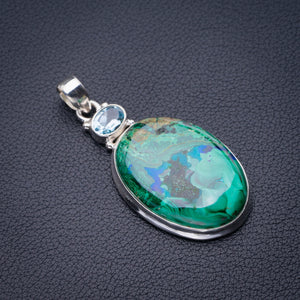 "StarGems Natural Chrysocolla And Blue Topaz Handmade 925 Sterling Silver Pendant 2"" D6458"