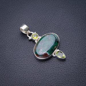 "StarGems Natural Chrysocolla And Peridot Handmade 925 Sterling Silver Pendant 1.75"" D6461"