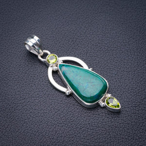 "StarGems Natural Chrysocolla And Peridot Handmade 925 Sterling Silver Pendant 2.25"" D6463"