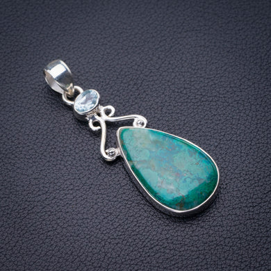 StarGems Natural Chrysocolla And Blue Topaz Handmade 925 Sterling Silver Pendant 2.25