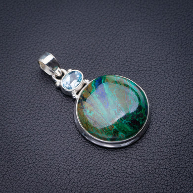 StarGems Natural Chrysocolla And Blue Topaz Handmade 925 Sterling Silver Pendant 1.75