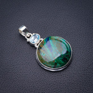 "StarGems Natural Chrysocolla And Blue Topaz Handmade 925 Sterling Silver Pendant 1.75"" D6467"
