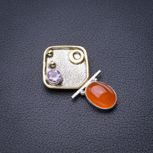 "StarGems Natural Two Tones Carnelian And Amethyst Handmade 925 Sterling Silver Pendant 1.5"" D6469"