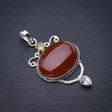 StarGems Natural Carnelian,Peridot And Blue Topaz Handmade 925 Sterling Silver Pendant 2.25