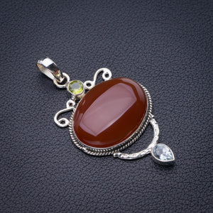 "StarGems Natural Carnelian,Peridot And Blue Topaz Handmade 925 Sterling Silver Pendant 2.25"" D6471"
