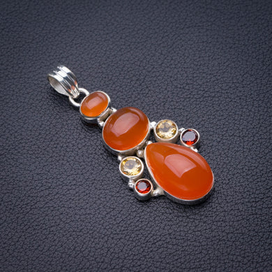 StarGems Natural Carnelian,Citrine And Garnet Handmade 925 Sterling Silver Pendant 2