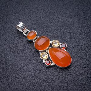 "StarGems Natural Carnelian,Citrine And Garnet Handmade 925 Sterling Silver Pendant 2"" D6472"