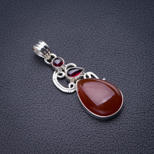 "StarGems Natural Carnelian And Amethyst Handmade 925 Sterling Silver Pendant 2"" D6474"