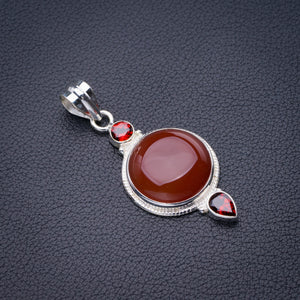 "StarGems Natural Carnelian And Garnet Handmade 925 Sterling Silver Pendant 2"" D6477"