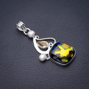 "StarGems Natural Rainbow Dichroic Glass,Citrine And River Pearl Handmade 925 Sterling Silver Pendant 2"" D6481"
